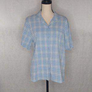 Alfred Dunner Button Down Shirt Size 14 Blue
